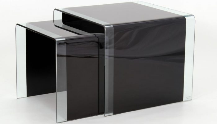 Black Glass Nest Of Tables
