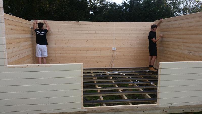 log cabin installation